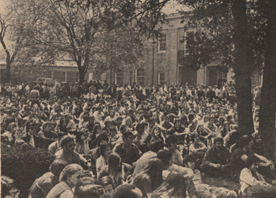 """No Longer Apathetic""… approximately 2000 Hofstra students turned out on May 6 to hear a variety of speakers discuss Cambodia and the tragedies at Kent State."" Hofstra University. The Hofstra Chronicle, 1970"