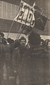 """Rallying 'Round the Flags""… of peace, students from Long Island universities and colleges gathered in an A&S parking lot to protest the war."" Hofstra University. The Hofstra Chronicle, 1970."