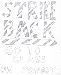 Poster set up by the Strike Back Committee in opposition to striking students at Hofstra University in May of 1970