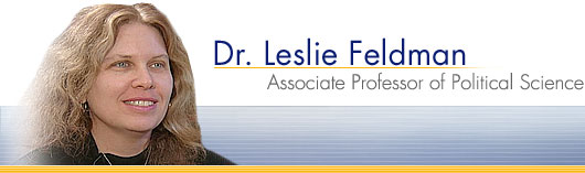 Dr. Leslie Feldman - Associate Professor of Political Science