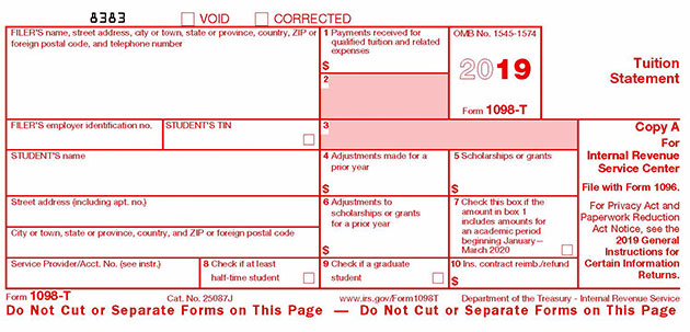 Blank sample of the 2018 Form 1098-T