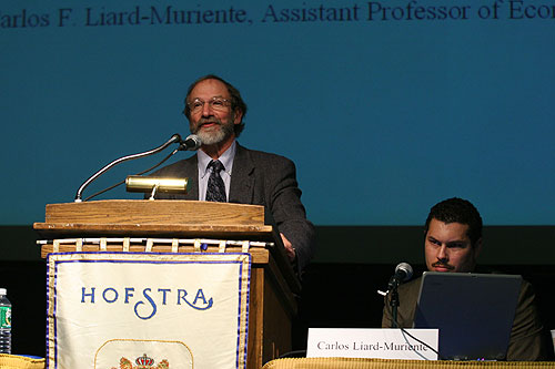 Michael Meeropol and Carlos Liard-Muriente at the Domestic Economic Policy panel