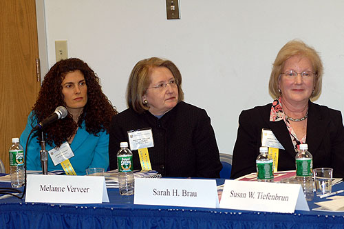 Laura Schiller, Melanne Verveer and Sarah Brau at the A New Role for the First Lady: Staffers' and Scholars' Assessments