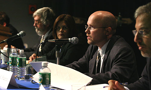 (l to r) Hofstra Professor Steven Knowlton, Judithanne Scourfield McLauchlan, Bradley Freeman and Eric Alterman on the Considering the Press panel