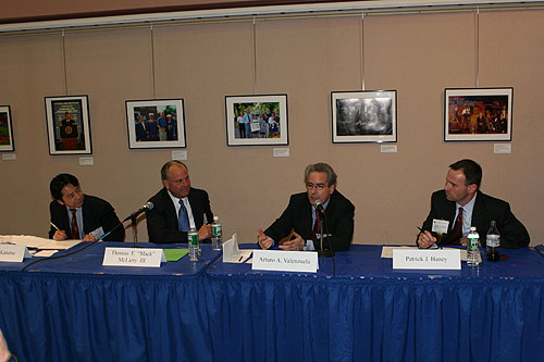 Takashi Kanatsu, Thomas F. Mack McLarty III, Arturo A. Valenzuela and Patrick Haney at the Latin America and the Caribbean panel