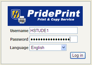 PridePrint Web Login