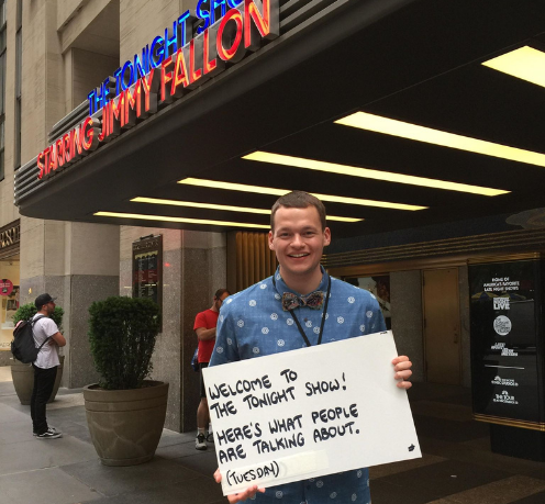 Student interning at The Tonight Show with Jimmy Fallon