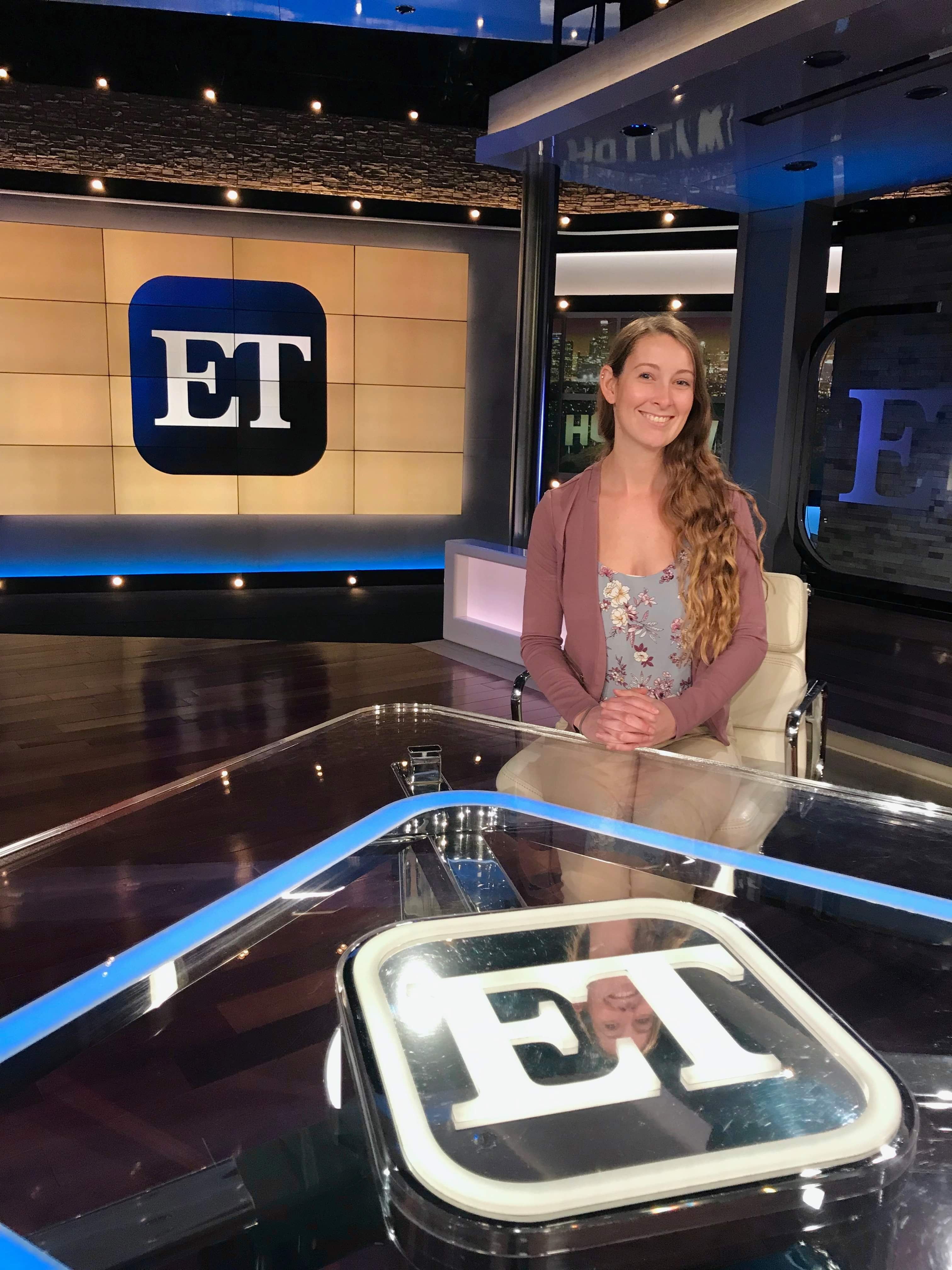 Alum Sara Whitman on the ET set.