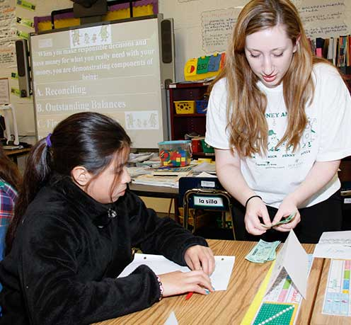 Student teaching in an elementary school classroom